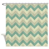 Vintage Green ZigZag pattern Shower Curtain