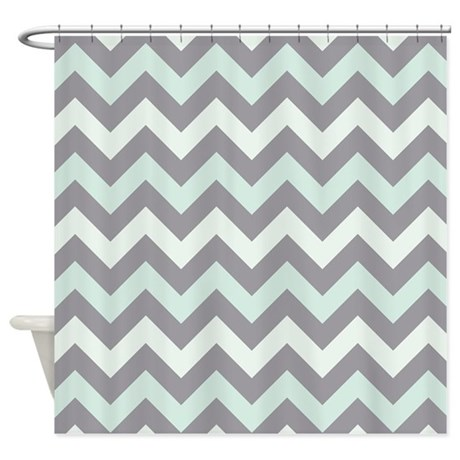 Sea Foam ZigZag Pattern Shower Curtain By ZandiepantsHomeDecor