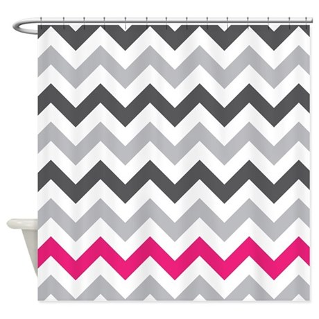 Grey zig zag with hot pink shower curtain by for Zig zag bathroom decor