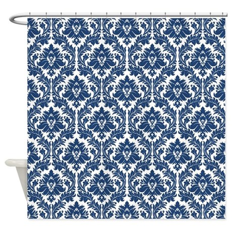White And Dark Blue Damask
