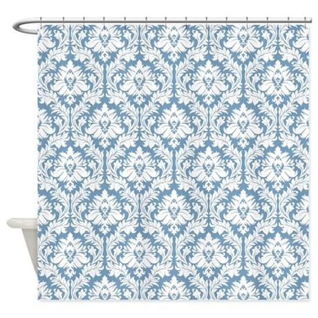 Light Blue And White Damask