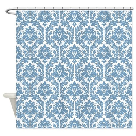 White And Light Blue Damask