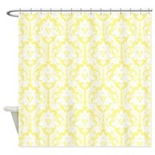 Light Yellow Damask Shower Curtain For