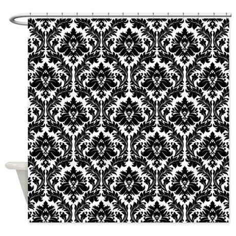 Black And White Damask Curtains Clearance Brown Damask Shower Curtain