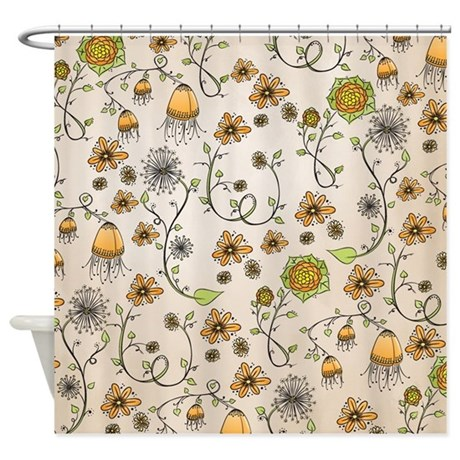 Whimsical Yellow Flowers On Beige Shower Curtain By Zandiepantshomedecor