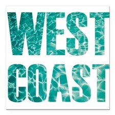 "west coast Square Car Magnet 3"" x 3"""