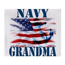 Navy Grandma Throw Blanket