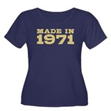 Made In 1971 Women's Plus Size Scoop Neck Dark T-S