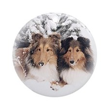 Snow Sheltie Ornament