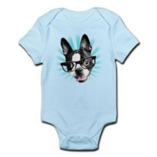 Cute! Hipster Boston Terrier Body Suit