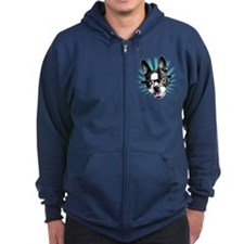 Cute! Hipster Boston Terrier Zip Hoodie