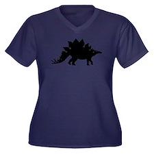 Dinosaur Stegosaurus Women's Plus Size V-Neck Dark