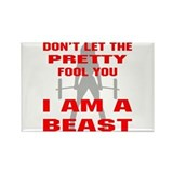 Female I Am A Beast Rectangle Magnet