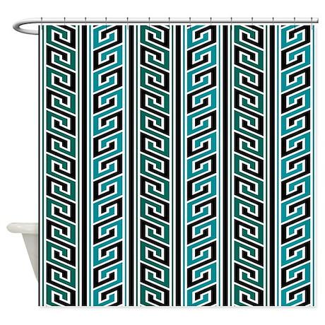 Aqua zig zag stripes shower curtain by jqdesigns for Zig zag bathroom decor