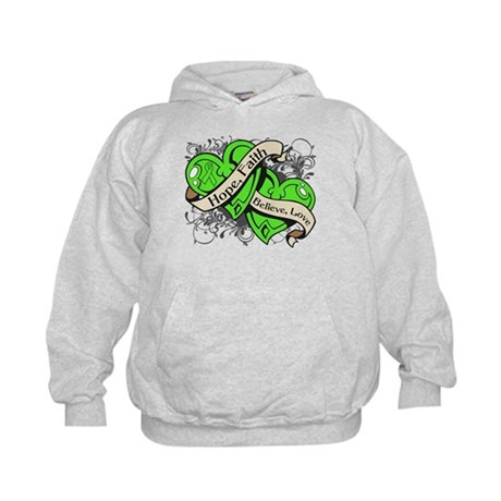 Lyme Disease Hope Dual Heart Kids Hoodie