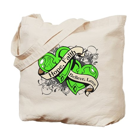 Lyme Disease Hope Dual Heart Tote Bag