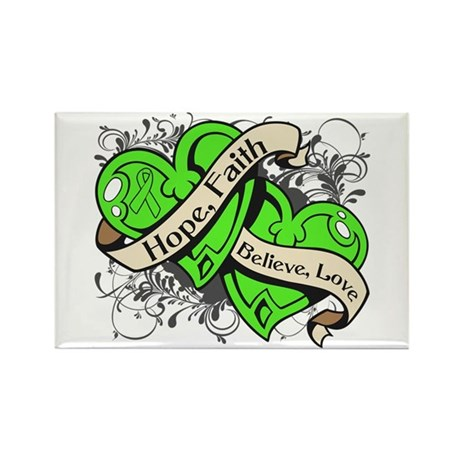 Lyme Disease Hope Dual Heart Rectangle Magnet