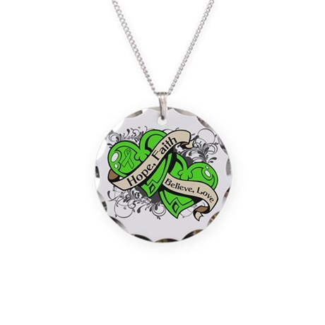 Lyme Disease Hope Dual Heart Necklace Circle Charm