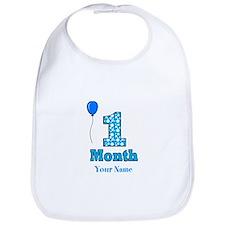 1 Month - Blue Polka Dot Bib