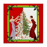 Art Deco Vintage Holiday Tile Coaster
