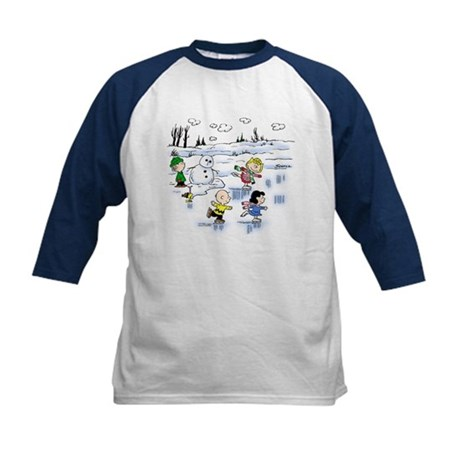 Snow Scene Kids Baseball Jersey