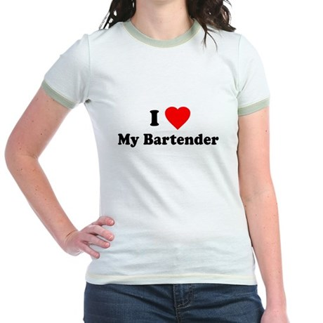 I Love [Heart] My Bartender Jr Ringer T-Shirt