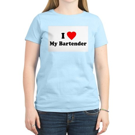 I Love [Heart] My Bartender Womens Pink T-Shirt