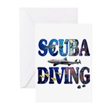 Scuba Diving with Shark Greeting Cards (Package of