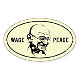 WAGE PEACE - Gandhi Oval Decal