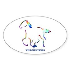 Wild Mustangs Oval Decal