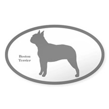 Boston Terrier Silhouette Oval Decal
