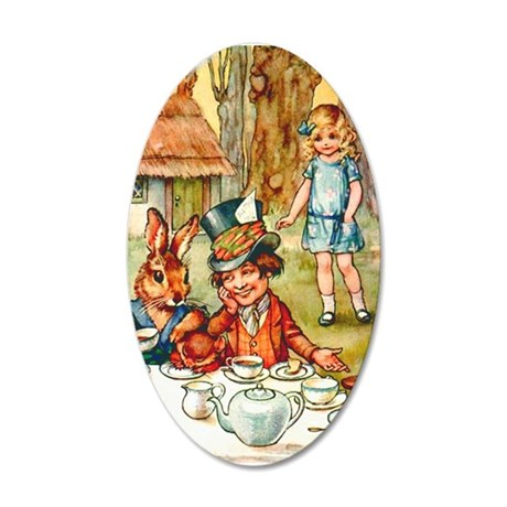 Mad Hatter's Tea Party 35x21 Oval Wall Decal