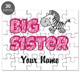 Zebra Big Sister - Customize with YOUR NAME Puzzle