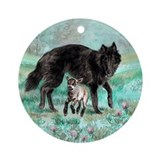 Belgian Sheepdog With Lamb Ornament (Round)