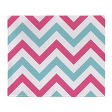 Chevron pink blue Throw Blanket