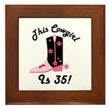 35th Birthday Cowgirl Framed Tile
