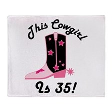 35th Birthday Cowgirl Throw Blanket