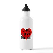 Live Love Triathlon Water Bottle