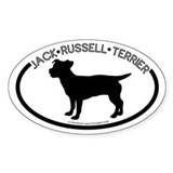 """Jack Russel"" White Oval Decal"