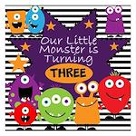 Little Monster Birthday 5.25 x 5.25 Flat Cards