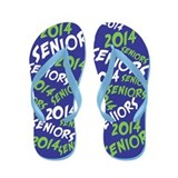 Green and Blue Senior Class OF 2014 Flip Flops