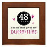 48th Anniversary Butterflies Framed Tile