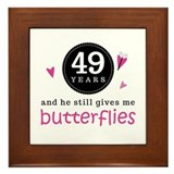 49th Anniversary Butterflies Framed Tile