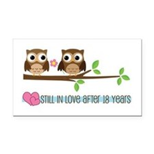 Owl 18th Anniversary Rectangle Car Magnet