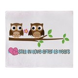 Owl 13th Anniversary Throw Blanket