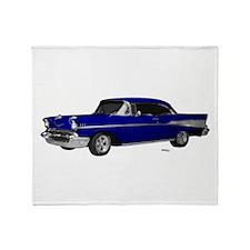 1957 Chevy Dark Blue Throw Blanket