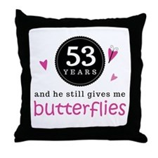 53rd Anniversary Butterflies Throw Pillow