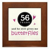 56th Anniversary Butterflies Framed Tile