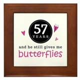 57th Anniversary Butterflies Framed Tile