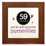 59th Anniversary Butterflies Framed Tile